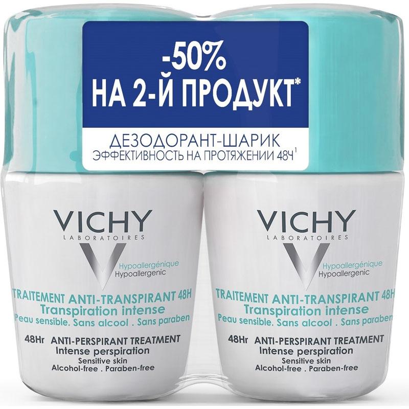 VICHY Deodorant ДУОПАК, Мужской Дезодорант против избыточного потоотделения 48 часов, 50 мл х 2 шт,, VICHY